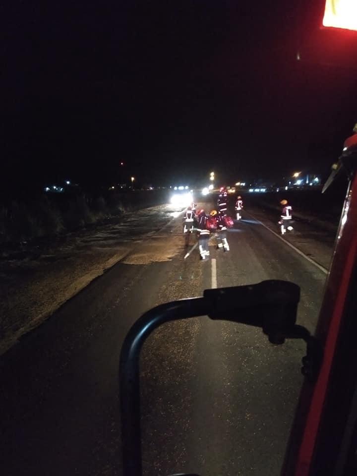 Derrame de cereal sobre Ruta 33