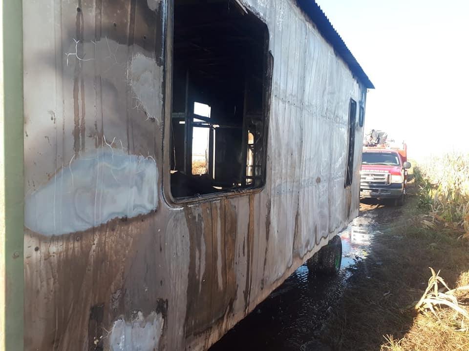 Incendio en casilla en zona rural