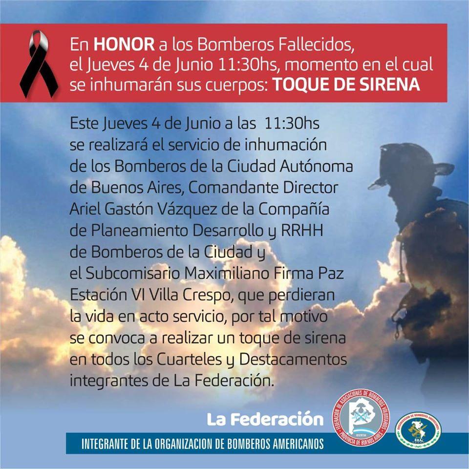 En Honor a los Bomberos fallecidos